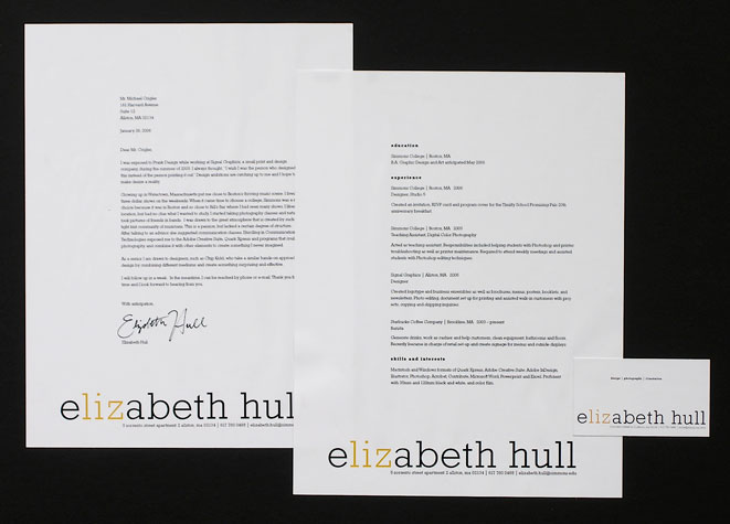photograph of elizabeth hulls resume cover letter and business card - Resume Cover Letter Design